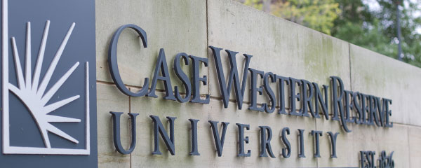 Photo of the CWRU sign in spring
